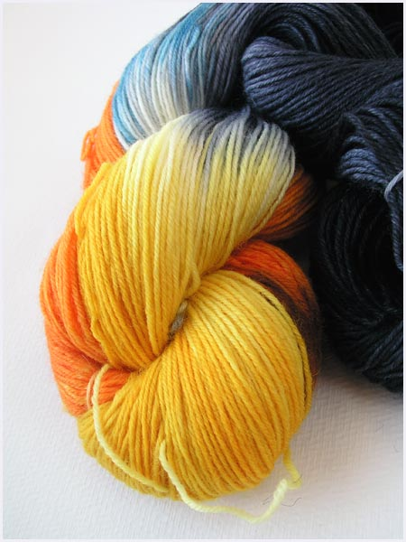 5x5 darkside handdyed sock yarn opal